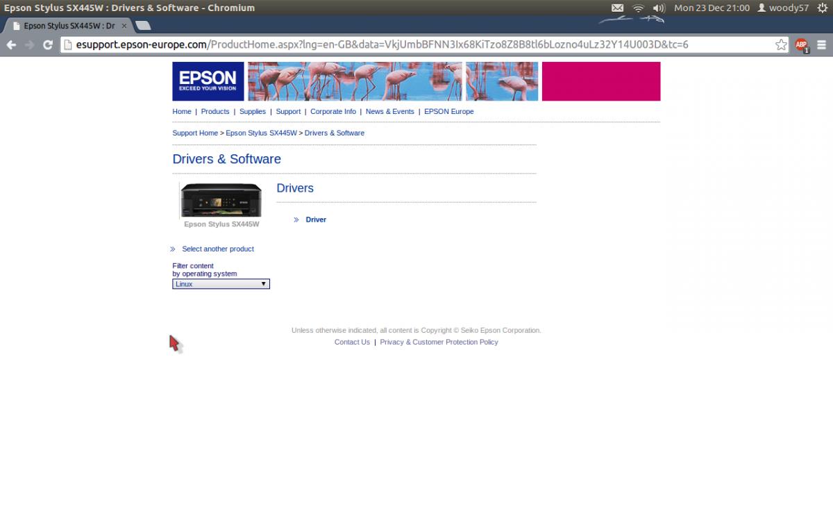 Drivers for Epson Printer/scanner